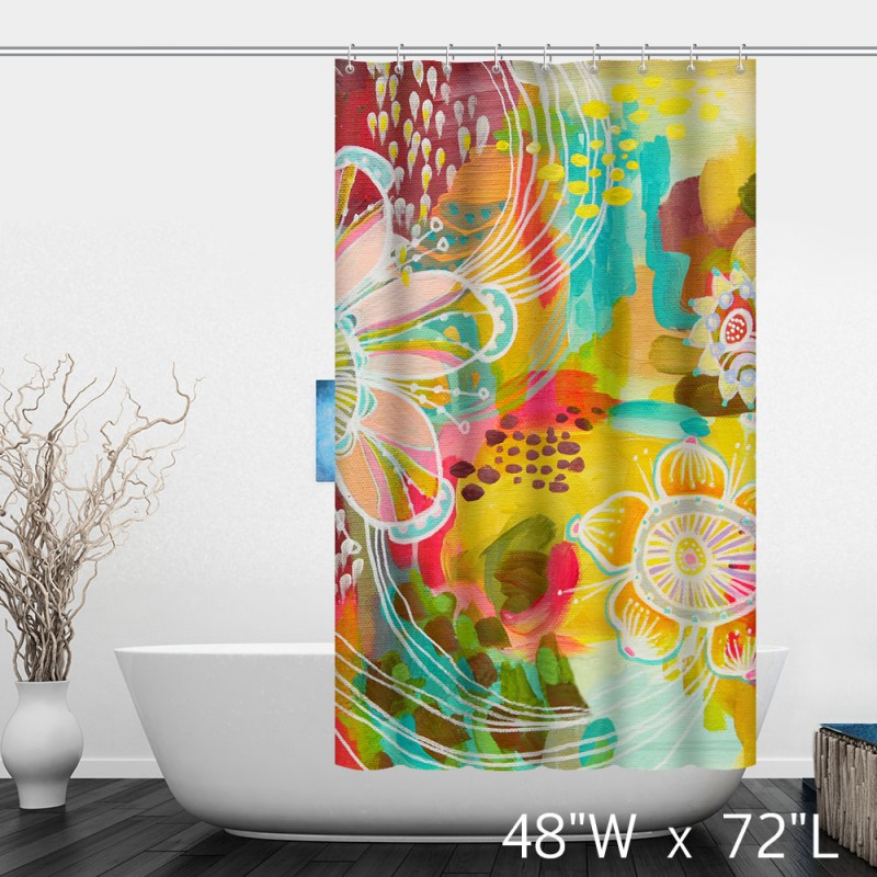 Colorful watercolor floral print shower curtain custom Colorful shower curtains