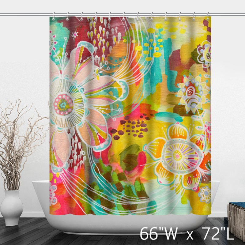 ... Colorful Watercolor Floral Print Shower Curtain ...