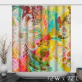 Colorful Watercolor Floral Print Shower Curtain
