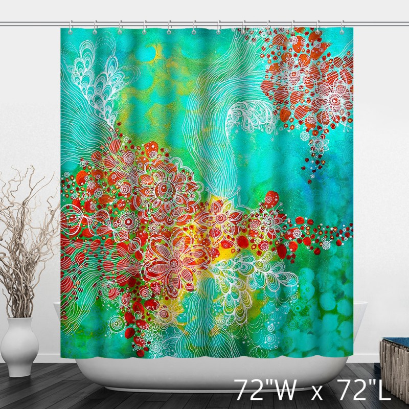 colorful watercolor floral print shower curtain - custom shower