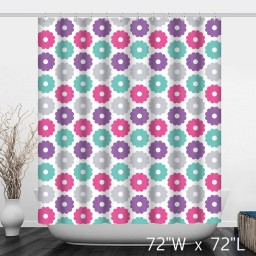 Concise Floral Pattern Print Shower Curtain