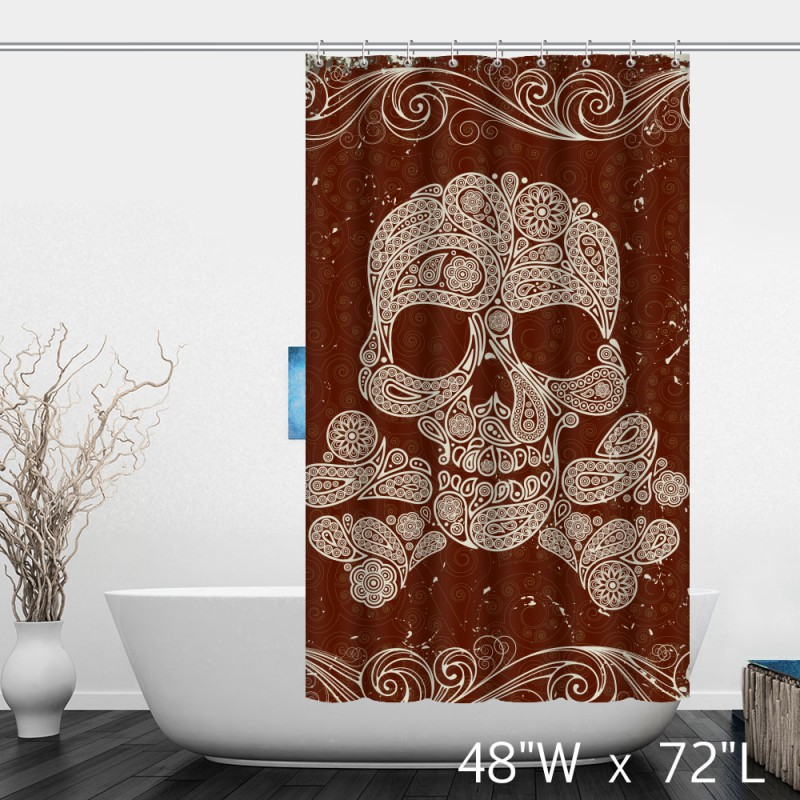 ... Artistic Skull Floral Print Polyester Shower Curtain ...