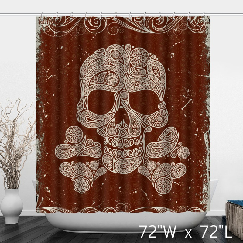 Artistic Skull Floral Print Polyester Shower Curtain ...