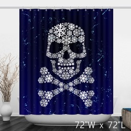 Artistic Skull Floral Print Polyester Shower Curtain