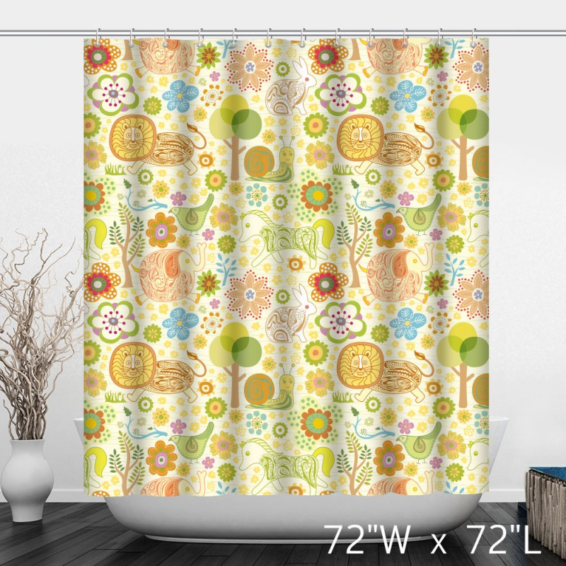 ... Cute Animals Pattern Print Polyester Shower Curtain ...