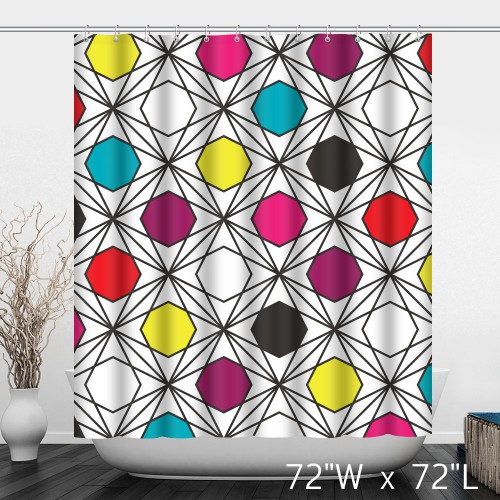 Vintage Geometric Pattern Polyester Shower Curtain