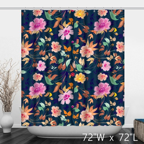 Hand Painted Flower Floral Shower Curtain