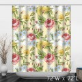 Hand Painted Rose Floral Polyester Shower Curtain