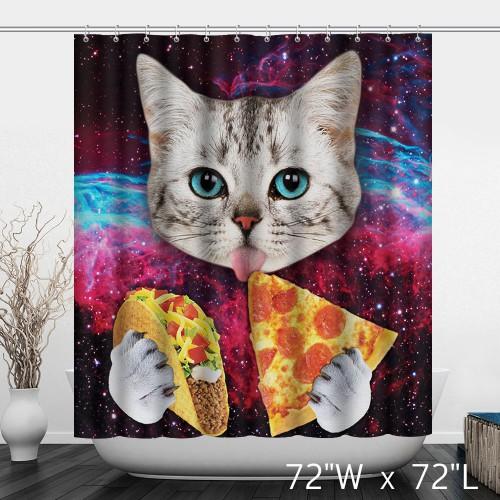 Cat Eat Hamburger Pizza Funny Shower Curtain