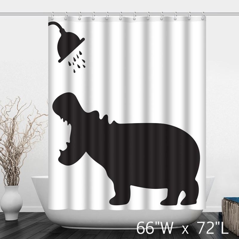 Funny hippo take shower bathroom shower curtain custom for Funny shower curtains