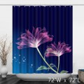 Transparent Art Floral Polyester Shower Curtain