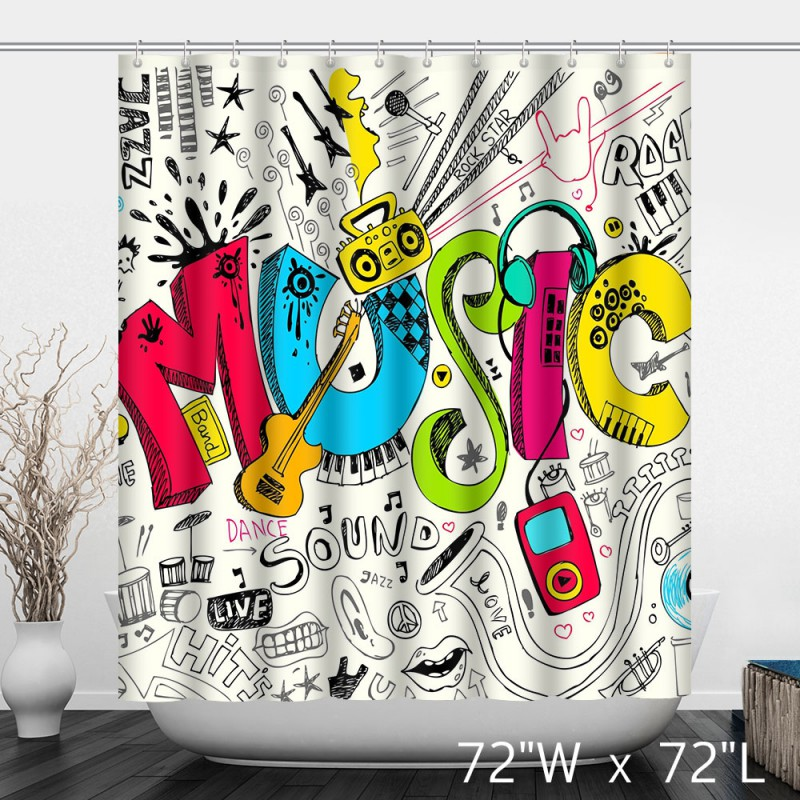 Music Themes Stave Note Art Shower Curtain - Custom Shower Curtain Store