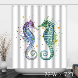 Colorful Watercolor Hippocampus Print Shower Curtain