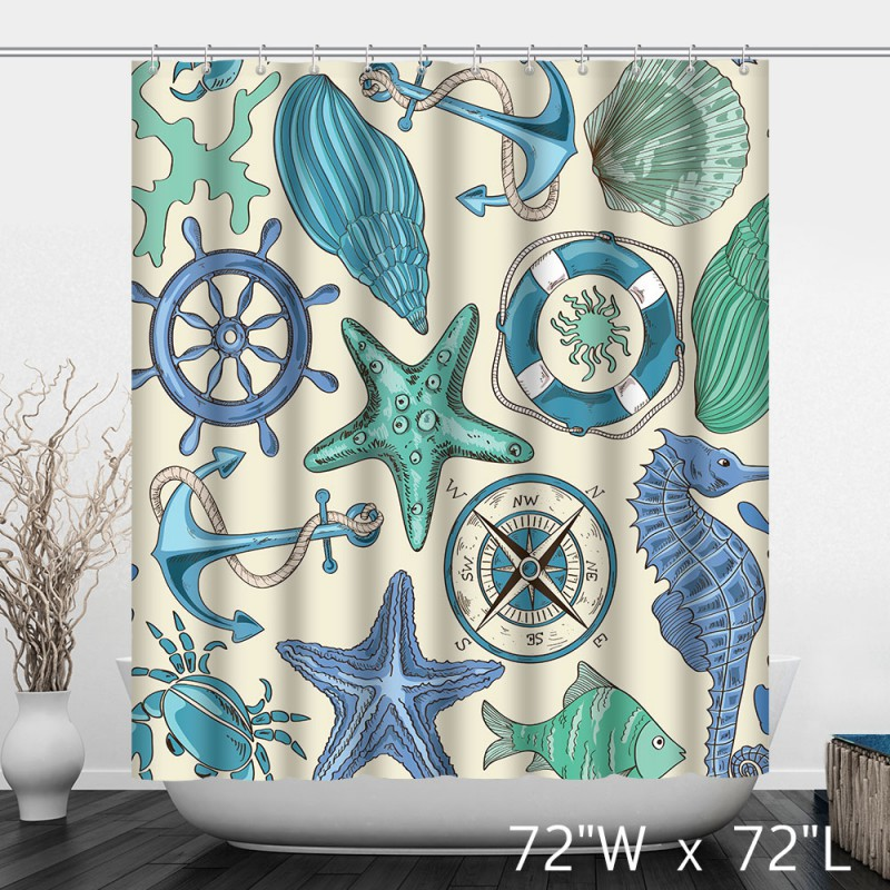 Nautical Themed Bathroom Polyester Shower Curtain