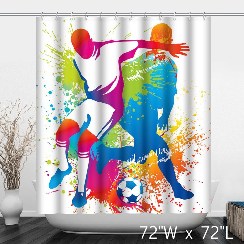 Watercolor People Play Football Shower Curtain