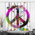 Colorful Watercolor Peace And Love Shower Curtain