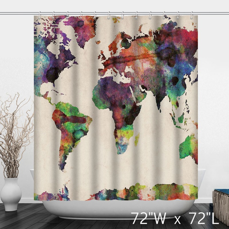 Watercolor Colorful World Map Print Shower Curtain - Custom Shower ...