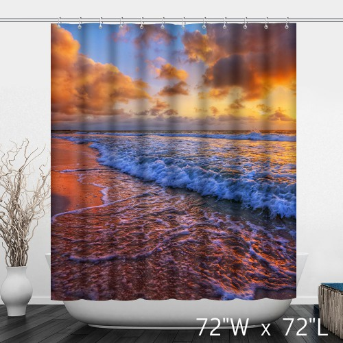 Beach Waves Sunset Image Print Shower Curtain