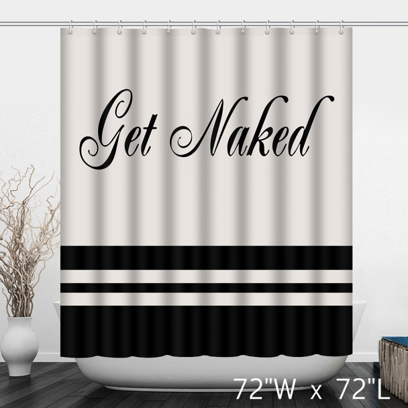 Get Naked Simple Words Print Shower Curtain ...