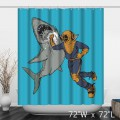 Funny Diver Punch Shark Print Shower Curtain