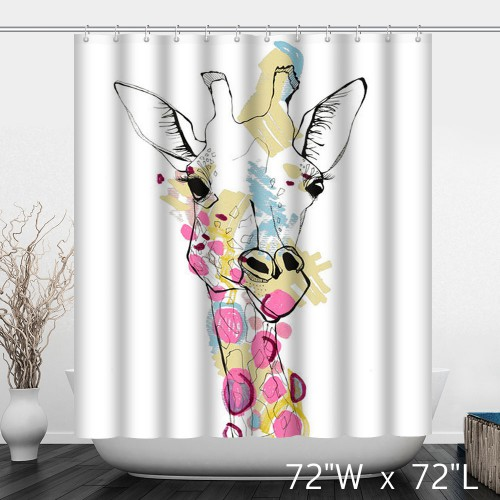 Colorful Abstract Watercolor Giraffe Print Shower Curtain