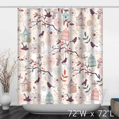 Hand Painted Birds Birdcage Branches Shower Curtain