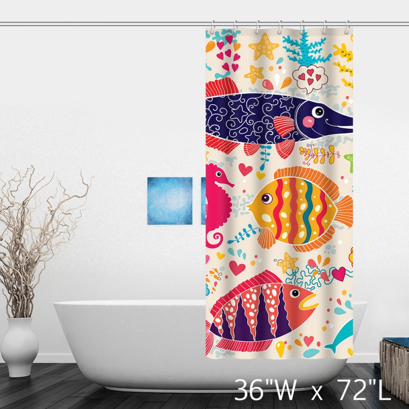 The underwater world Colorful Tropical Fish Shower Curtain - Custom ...
