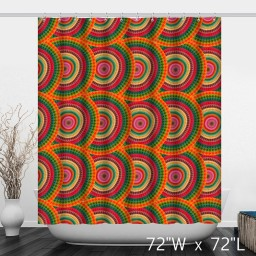 Colorful Annual Ring Geometric Print Shower Curtain