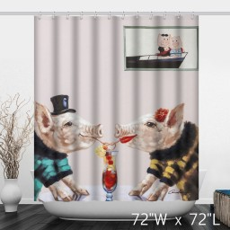 Retro Pigs in Love Painting Sweetheart Shower Curtain