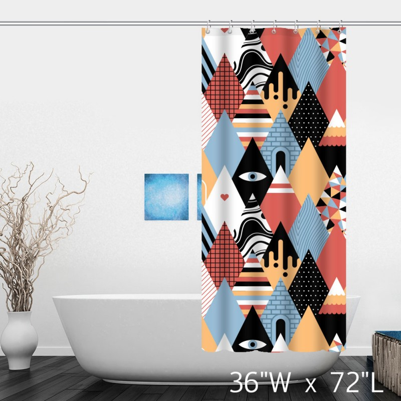 abstract artist geometric triangle mountain shower curtain