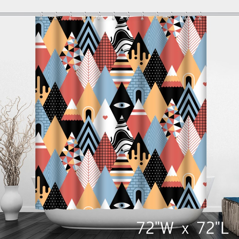 Abstract Artist Geometric Multi Colored Triangle Mountain Shower Curtain