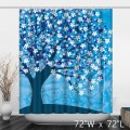 Blue Abstract Trees White Flower Painting Shower Curtain