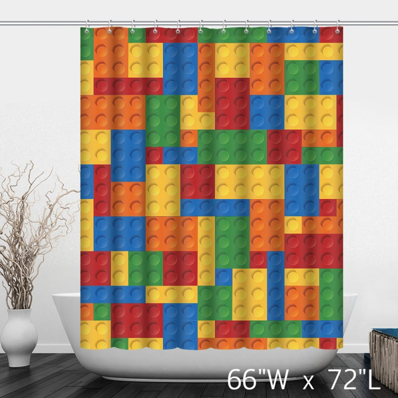 kid classic lego bathroom decor building blocks shower curtain