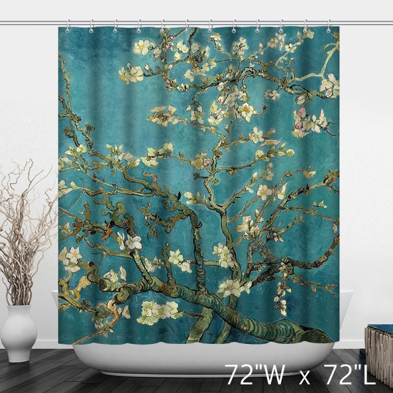 Vintage Blue Oil Printed Flower Branches Artist Shower Curtain