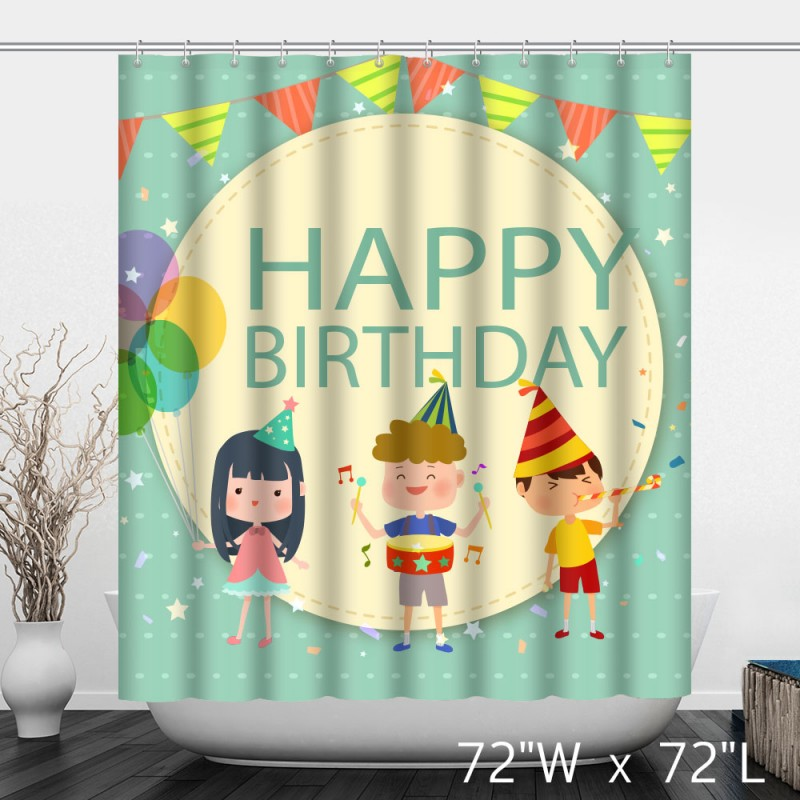 Happy Birthday Background With Three Smiling Kids Shower Curtain