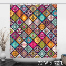 Multi-Colored Floral Background with Mandalas Shower Curtain