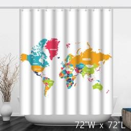 Colorful Political The World Map Bathroom Shower Curtain