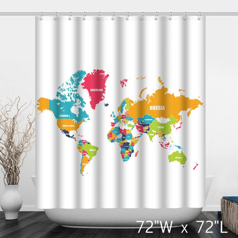 Colorful political the world map bathroom shower curtain custom colorful political the world map bathroom shower curtain gumiabroncs Choice Image