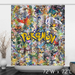 Pokemon Go Animals Characters Printed Shower Curtain