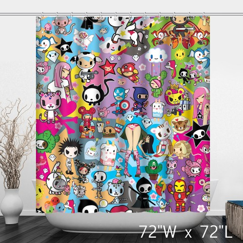 Cute Film Characters Printed Kids Girls Shower Curtain