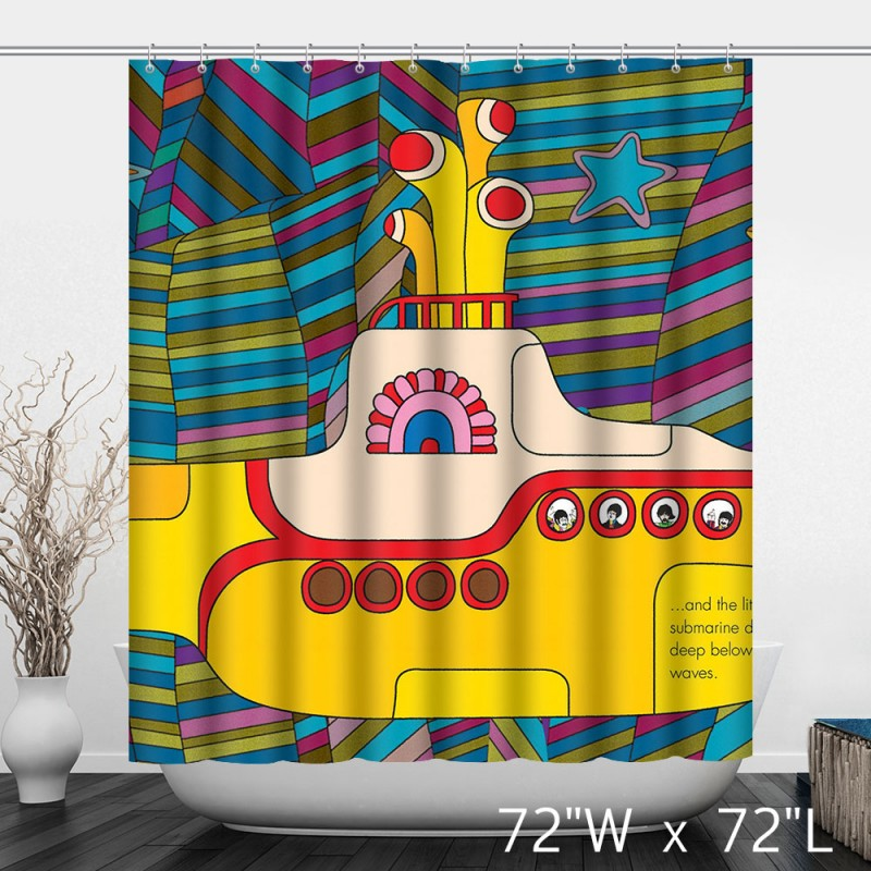 Bright Colorful Children Cartoon Yellow Submarine Shower Curtain