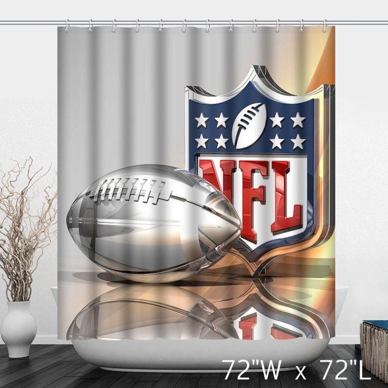Beautiful Shinny NFL Logo Football Printed Shower Curtain