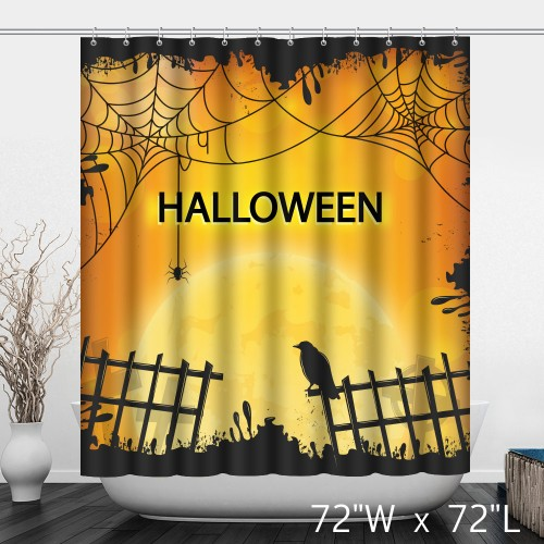 Halloween Background with Fence and Raven Shower Curtain