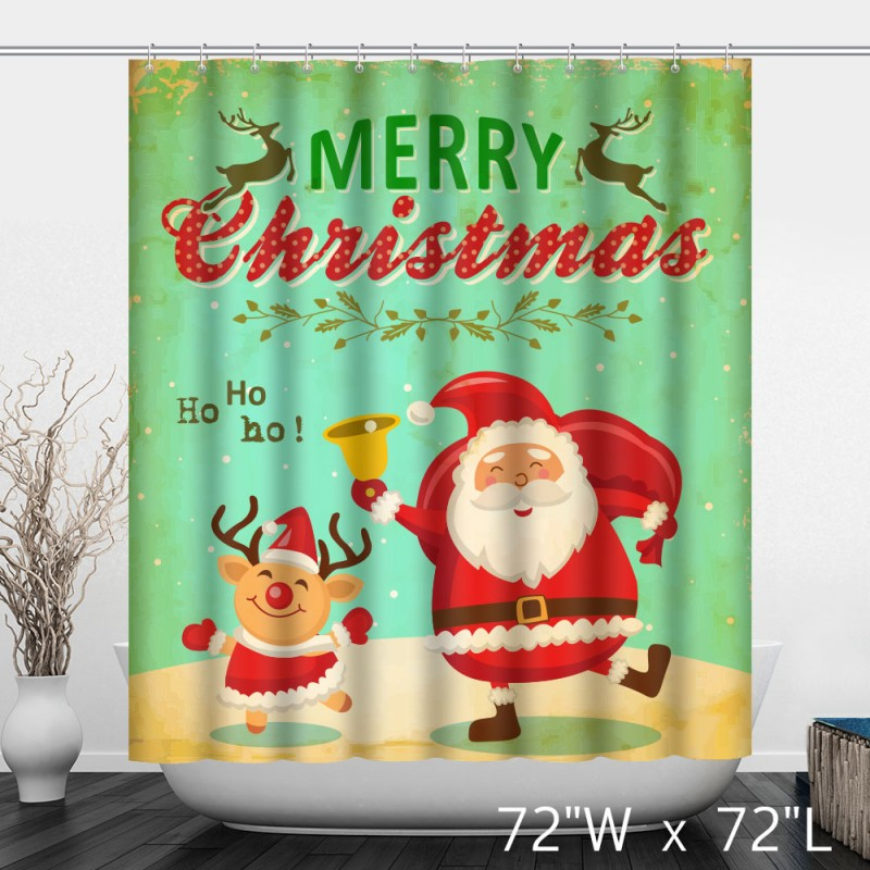 Funny Merry Christmas Santa Claus And Elk Shower Curtain