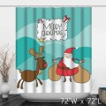 Cute Merry Christmas Santa Claus and Elk Shower Curtain