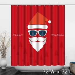 Red Merry Christmas Santa Claus Shower Curtain