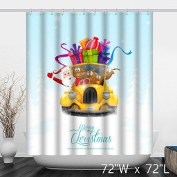 Christmas Santa Claus Gifts on The Car Shower Curtain