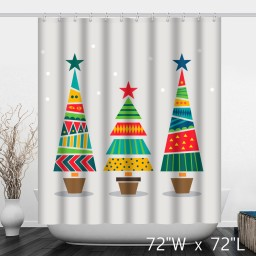 Geometric And Colorful Christmas Trees Printed Shower Curtain