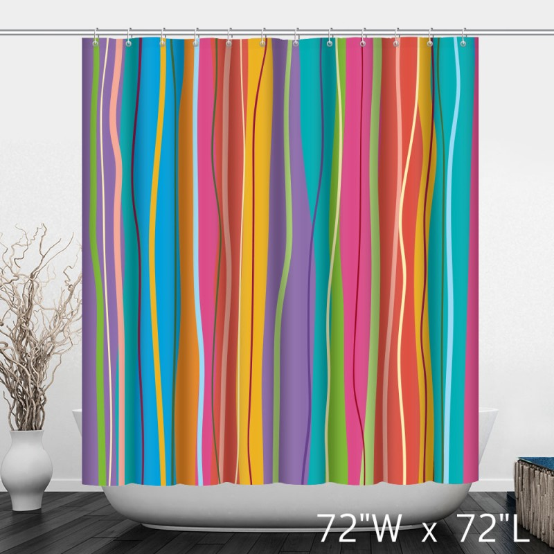 Beautiful Colorful Striped Bathroom Shower Curtain Custom Shower