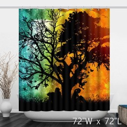 Awesome Lover Under Trees Silhouette Bathroom Shower Curtain